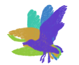 羽ばたくカモメ -水彩- のGIFアニメサムネイル animated gif gull flapping